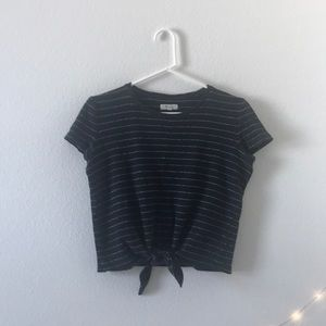 Madewell Black Striped Tie Front Tee Shirt
